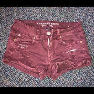Burgundy short shorts